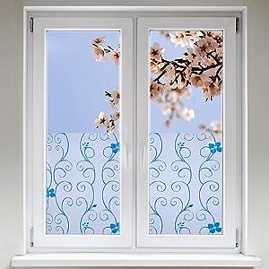 Artefact® Dekofolie / Fensterfolie Blueten Blau | statisch haftend (ohne Kleber) | verschiedene Größen  BaumarktBewertungen