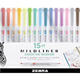 Zebra Zensation Mildliner, Double Ended Highlighter, Broad and Fine Tips, Assorted colors, 15-Count