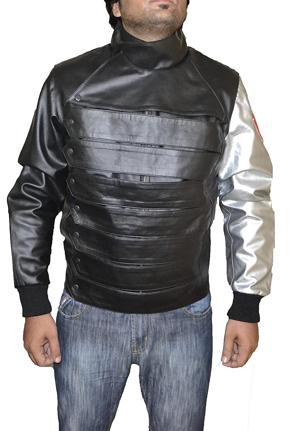 Captain America Winter Soldier Bucky Barnes Black & Silver Faux Leather Jacket-Best HALLOWEEN costume