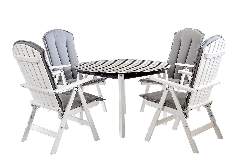 GARDENho.me 9tlg. Sitzgruppe STRANDA Essgruppe Weiß inkl. Kissen, Tisch rund ca. 114 cm Ø, 72 cm hoch