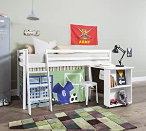 Cabin Bed with Desk in Sports Design & Mattress , WHITE Bed with Tent SPORTS WG+MATTRESS       Customer reviews and more information