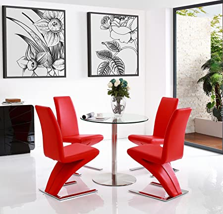 Target Round Glass & Stainless Steel Dining Table (80 w x 80 d x 76 h cm) with 2 Red Zed Dining chairs