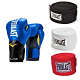 Everlast 14 Ounce Training Boxing Gloves, Blue & 120 Inch Hand Wraps (3 Pack) (Color: Blue, Tamaño: 14 ounces)
