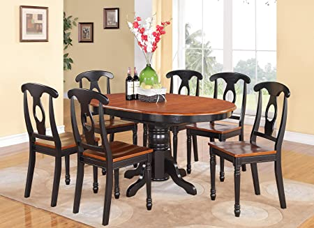 East West Furniture KENL7-BLK-W 7-Piece Dining Table Set