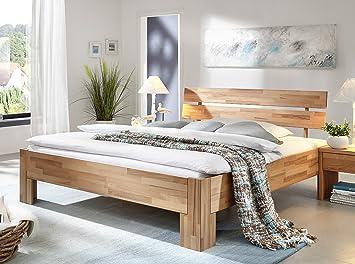Bett Doppelbett 'Ella' 180x200cm Kernbuche geölt massiv Holz