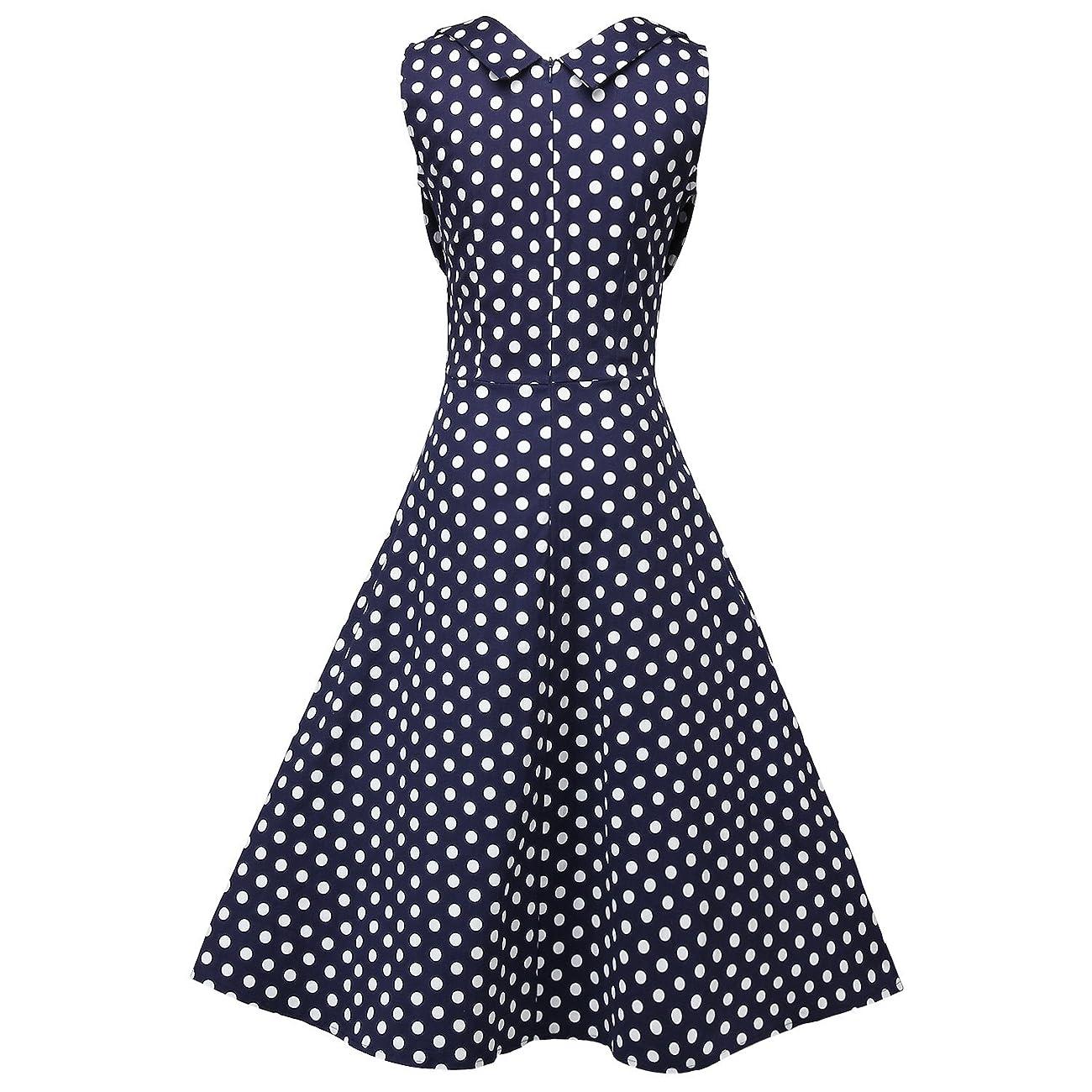 Creti Women's 1950s Vintage Halter Polka Dot V-Neck Sleeveless Swing Dress 1
