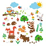 Into the Woods Baby/Nursery Decorative Wall Art Sticker Decals (Color: Black)