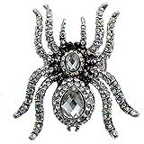 Szxc Jewelry Women's Crystal Halloween Spider Stretch Rings