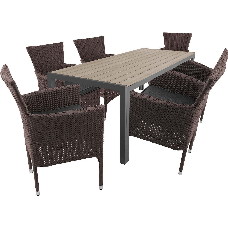 Stilvolle 7tlg. Gartengarnitur Aluminium Gartentisch mit Polywood - Tischplatte 205x90cm + stapelbare Poly Rattan Sessel Gartensessel Rattansessel Rattanstühle inkl. Sitzkissen Terrassenmöbel Gartenmöbel Sitzgarnitur Sitzgruppe