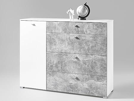 """Kommode Mehrzweckschrank Sideboard Standschrank Schrank """"Bloemfontein II"""" Beton/Weiß"""