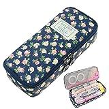 Pencil Case, Twinkle Club Cute Pen Case Zipper Bag Office Organizer Rose Floral Makeup Pouch, Cyan (Color: Cyan)