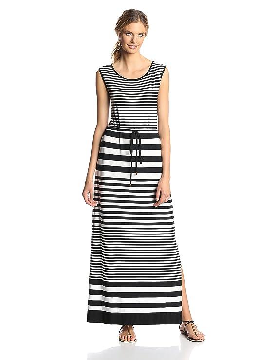 Sandra Darren Women's Sleeveless Self Tie Stripe Maxi Dress
