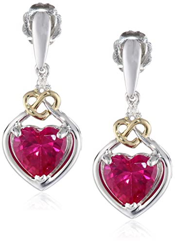 XPY-Sterling-Silver-and-14k-Yellow-Gold-Diamond-and-Heart-Shaped-Created-Ruby-Drop-Earrings