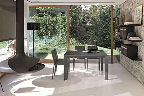 Meteora Plus – Table with Aluminium Frame and Plan in Taupe Stone Effect Laminate MADE Bianco