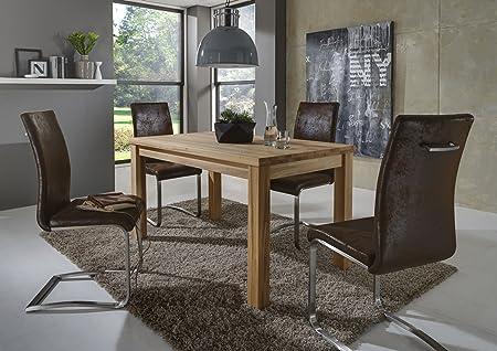 SAM® Stilvolle Esszimmertischgruppe 5tlg Emil aus Kernbuche geölt besteht aus 1 x Tisch Emil geölt 140 x 80 x 75 cm + 4 x Freischwinger Stuhl Lillian in Wildlederoptik, naturliche Maserung, massiv, pflegeleicht