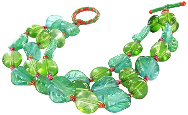 Linpeng 3 in 1 Women's Toggle Bracelet/Leaf Shaped & Green Glass Bead, 12 mm/Length Around 7.5, Green/1pc (Color: Green/1pc, Tamaño: 12 mm/Length around 7.5)