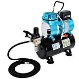 Master Airbrush 1/5 HP Cool Runner II Dual Fan Tank Air Compressor Kit Model TC-326T - Professional Single-Piston with 2 Cooling Fans, Runs Longer Without Overheating - Regulator Water Trap, Holder (Color: 1/5 HP Dual Cooling Fan w/Air Tank & Hose)