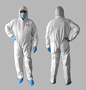 Protective Coverall with Hood - 5 pcs (S) (Color: White, Tamaño: S)