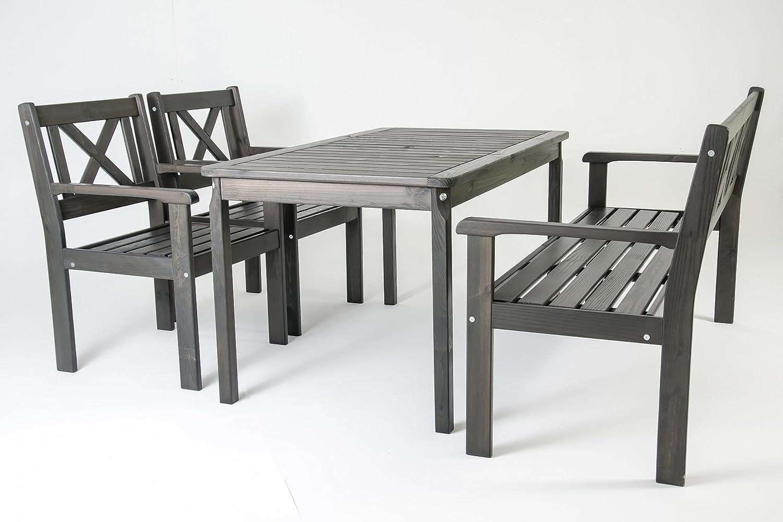 nordische gartenm bel 3tlg massivholz balkonset lotta tischgruppe taupegrau ssv. Black Bedroom Furniture Sets. Home Design Ideas