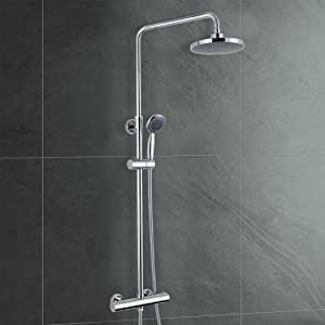 ROUND EXPOSED 2 OUTLETS THERMOSTATIC SLIDER RISER SHOWER MIXER VALVE WITH HANDSET & OVERHEAD       Customer reviews