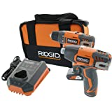 Ridgid R9000K 12V Hyper Lithium-Ion Drill / Driver Combo Kit (1 x R82005 Drill, 1 x R82230 Impact Driver, 1 x AC82049 2AH Battery, 1 x AC82059 4AH Battery, 1 x R86049 Charger) (Certified Refurbished)