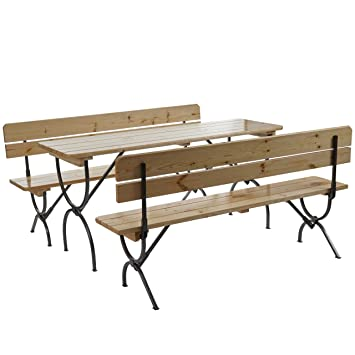 Ensemble de jardin LINZ, table + 2 bancs, bois massif, laqué, pliable ~ 150cm