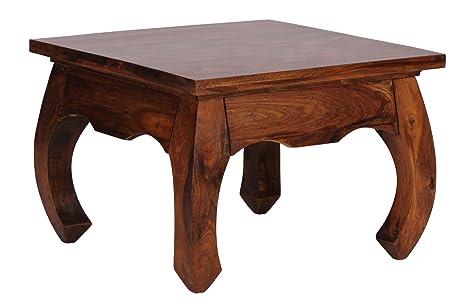 WOHNLING Couchtisch Massiv-Holz Sheesham 60 cm breit Design dunkel-braun Landhaus-Stil Beistelltisch Natur-Produkt Wohnzimmermöbel Unikat Wohnzimmer-Tisch modern Massivholzmöbel Echtholz quadratisch