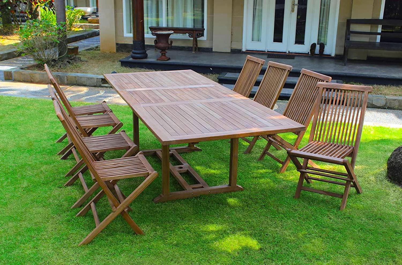 SAM® A Klasse Teak Holz Gartenguppe Gartenmöbel 9tlg., 1 x Tisch Serang + 8 x Sureang Stuhl
