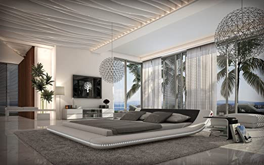 Designerbett Custo 180 x 200 cm Schwarz Weiß modernes Design