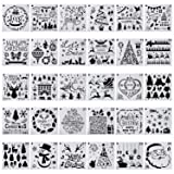 30-Pack (6x6 Inch) Christmas Stencils Painting and Drawing Stencil Template for Wood Slice Gift Card Floor Wall Tile Fabric Wood Burning Art DIY -reuseable