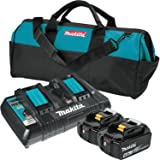 Makita BL1850B2DC2X 18V LXT Lithium-Ion Battery & Dual Port Charger Starter Pack (5.0Ah)