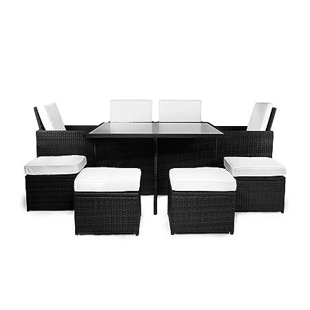 Vanage Gartenmöbel-Sets Gartengarnitur/Gartenmöbel, Chill und Lounge Set Sydney, schwarz / weiß