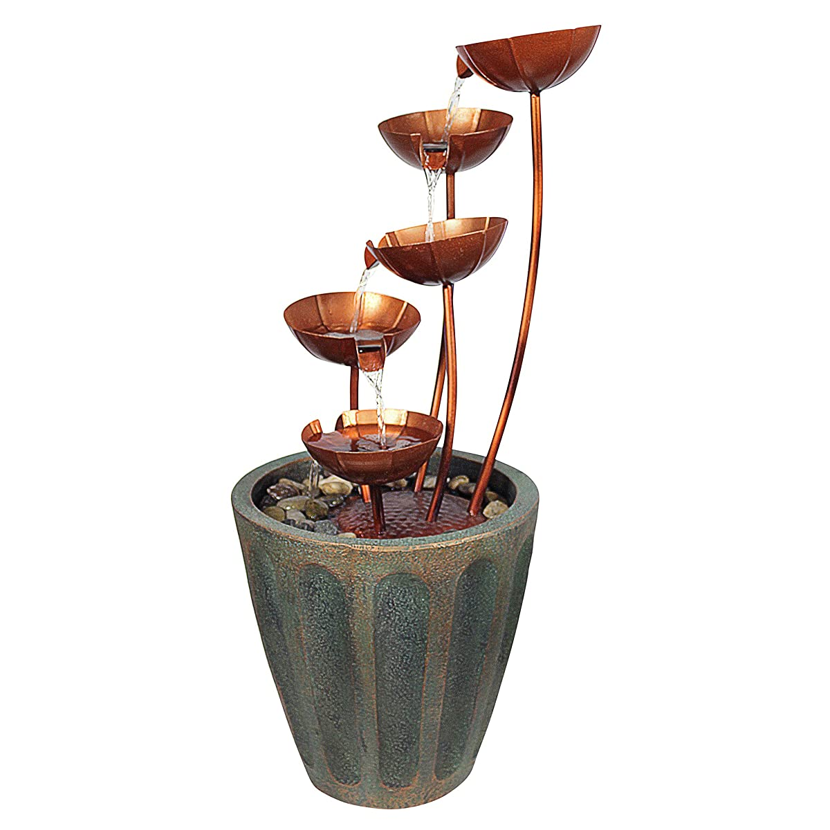 Design Toscano Copper Falls Water Fountain Garden Decor Outdoor Water Feature, 33 Inch, Polyresin, Copper Finish