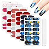 6 Sheets Van Gogh's Starry Night Full Nail Wraps Art Polish Stickers Decal Strips Adhesive False Nail Design Manicure Set With 1Pc Nail Buffers FilesFor Women Girls (Color: DA-201)