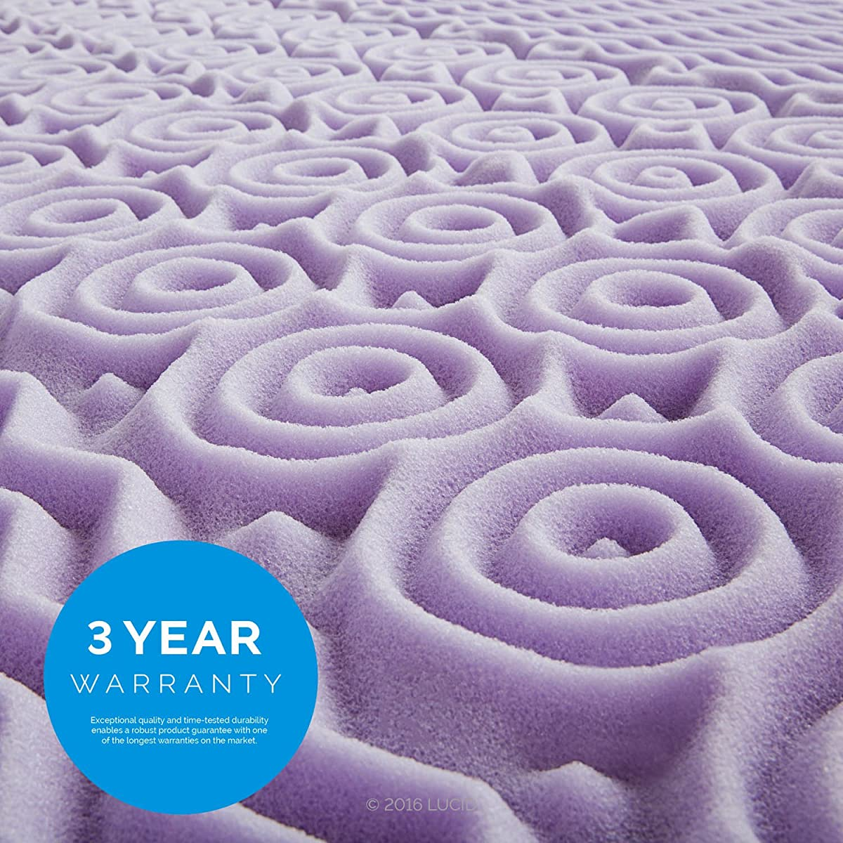 "LUCID 2"" 5-Zone Lavender Memory Foam Mattress Topper, Twin"