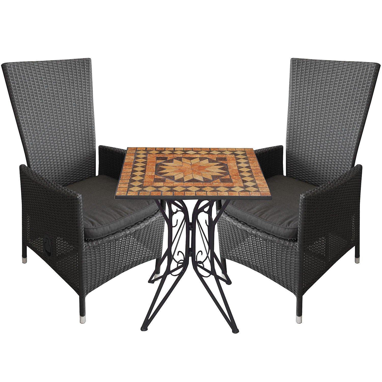 3tlg.Balkonmöbel Mosaiktisch 70x70cm Alu Poly-Rattan Sessel inkl. Sitzkissen Rückenlehne verstellbar Schwarz Terrassenmöbel Sitzgarnitur Sitzgruppe jetzt kaufen