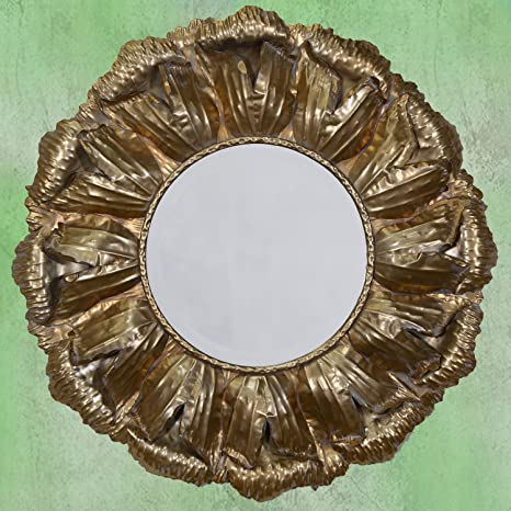 DUSX Rose Petals Framed Mirror, Metal, Gold, 92.5 x 92.5 x 7 cm