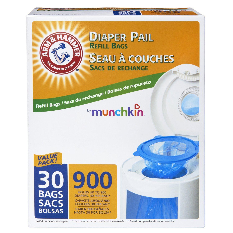 Munchkin Arm & Hammer Diaper Pail Refill Bags, 900 Count (90 bags)