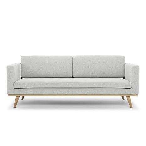 Scandinavian Design, Sensei Canapé 3 places, tissu gris clair, 201 x 93 x 82 cm