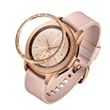 ANCOOL Compatible Samsung Galaxy Watch 42mm/Gear Sport Bezel Ring Adhesive Cover Anti Scratch Stainless Steel Protector Design for Galaxy Watch 42mm/Gear Sport -Rose Gold (Color: Q-08, Tamaño: 42mm)