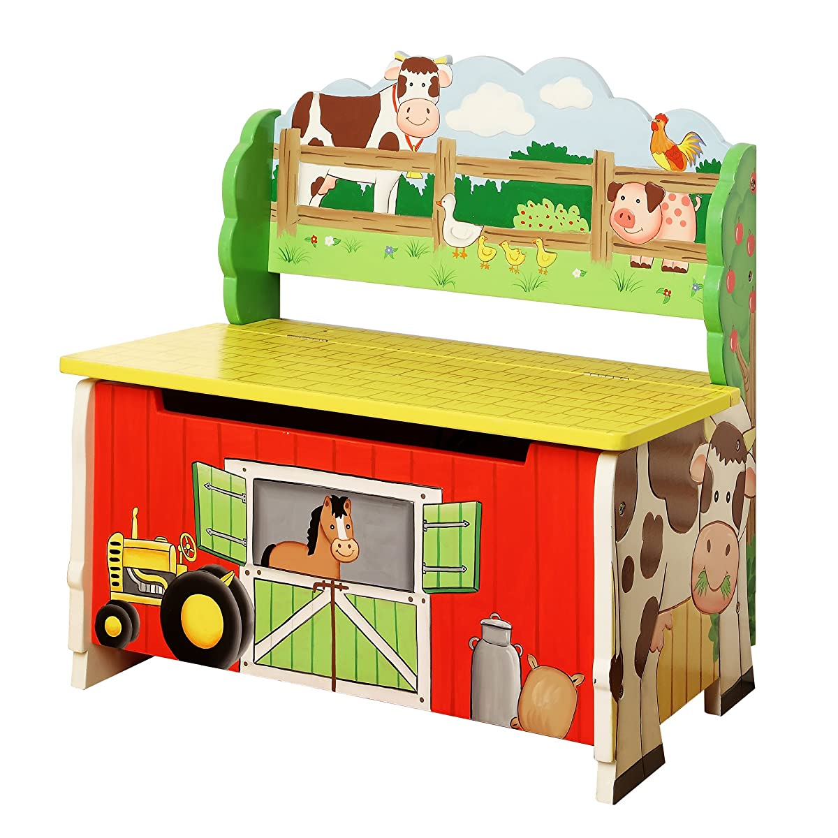 Fantasy Fields - Happy Farm Animals Thematic Kids Storage Bench| Imagination Inspiring Hand Crafted