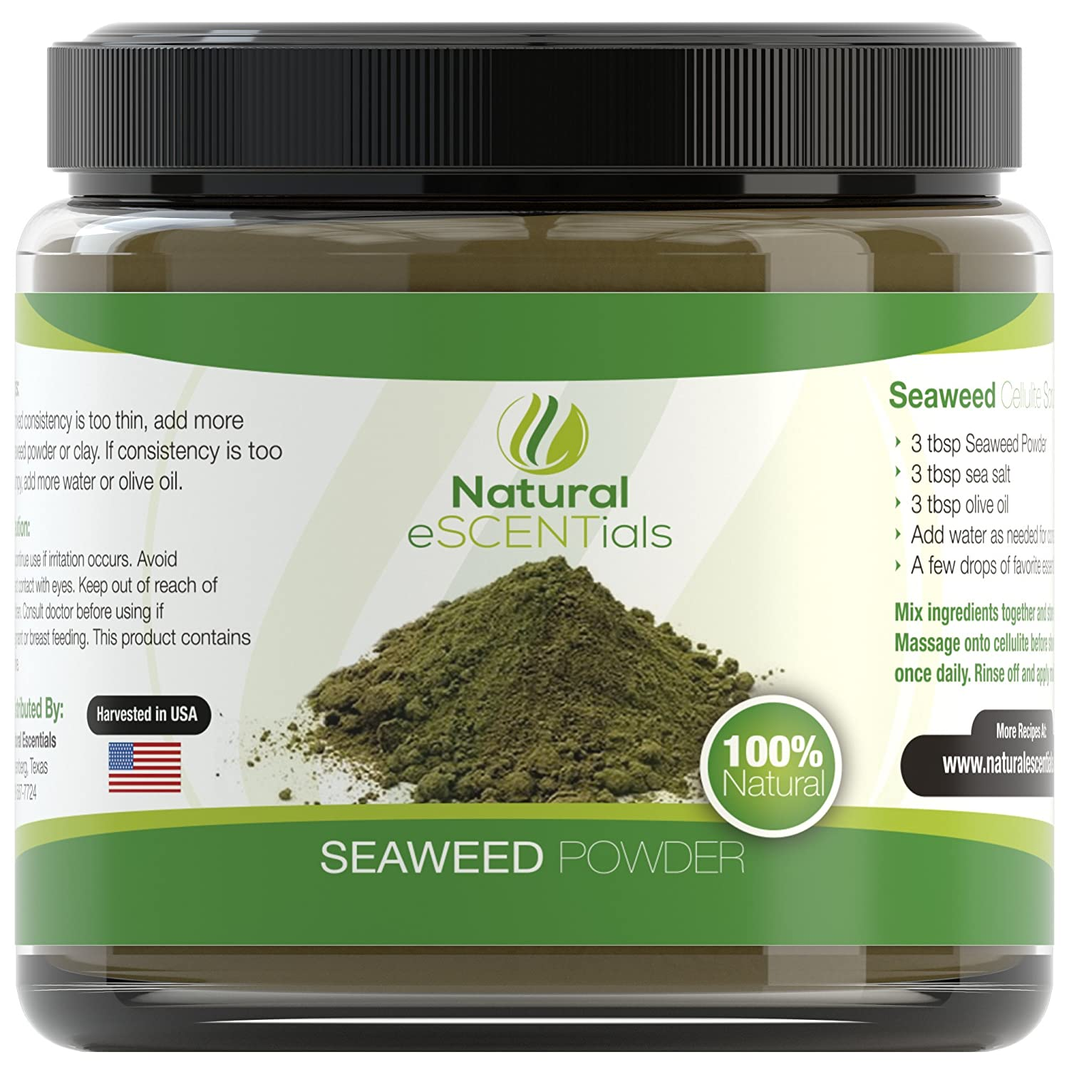 Seaweed Powder - HIGH QUALITY Organic Kelp Powder ? Best Cellulite Treatment ? - Fresh Norwegian Ascophyllum Nodosum Harvested in USA from the Atlantic Ocean - Ideal For Spa Quality Scrubs, Wraps, and Masks - HUGE 16oz Jar - Kosher Certified