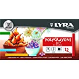 LYRA Polycrayons Soft Pastel Crayons, Set of 12 Crayons, Assorted Colors (5651120) (Color: Multicolored)