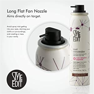 Style Edit Root Concealer Touch Up Spray   Instantly Covers Grey Roots   Professional Salon Quality Cover Up Hair Products for Women   Medium Brown 2 Ounce (Pack of 4) (Color: Medium Brown, Tamaño: Pack of 4)