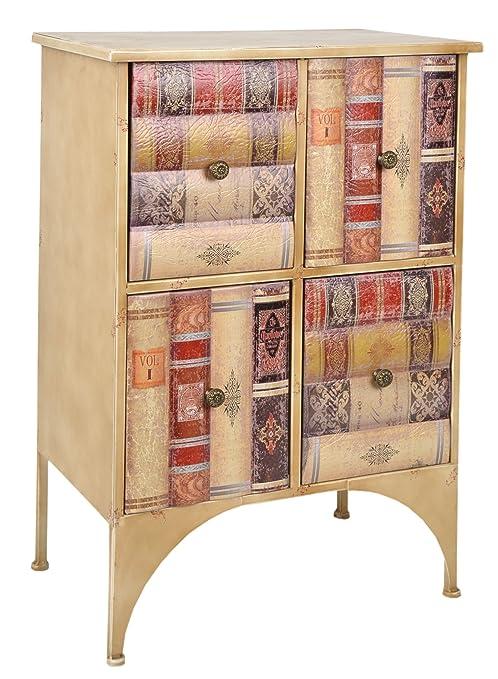 ts-ideen estantería cómoda librero estilo de vintage antiguo libros rustico con 4 cajones, color natural