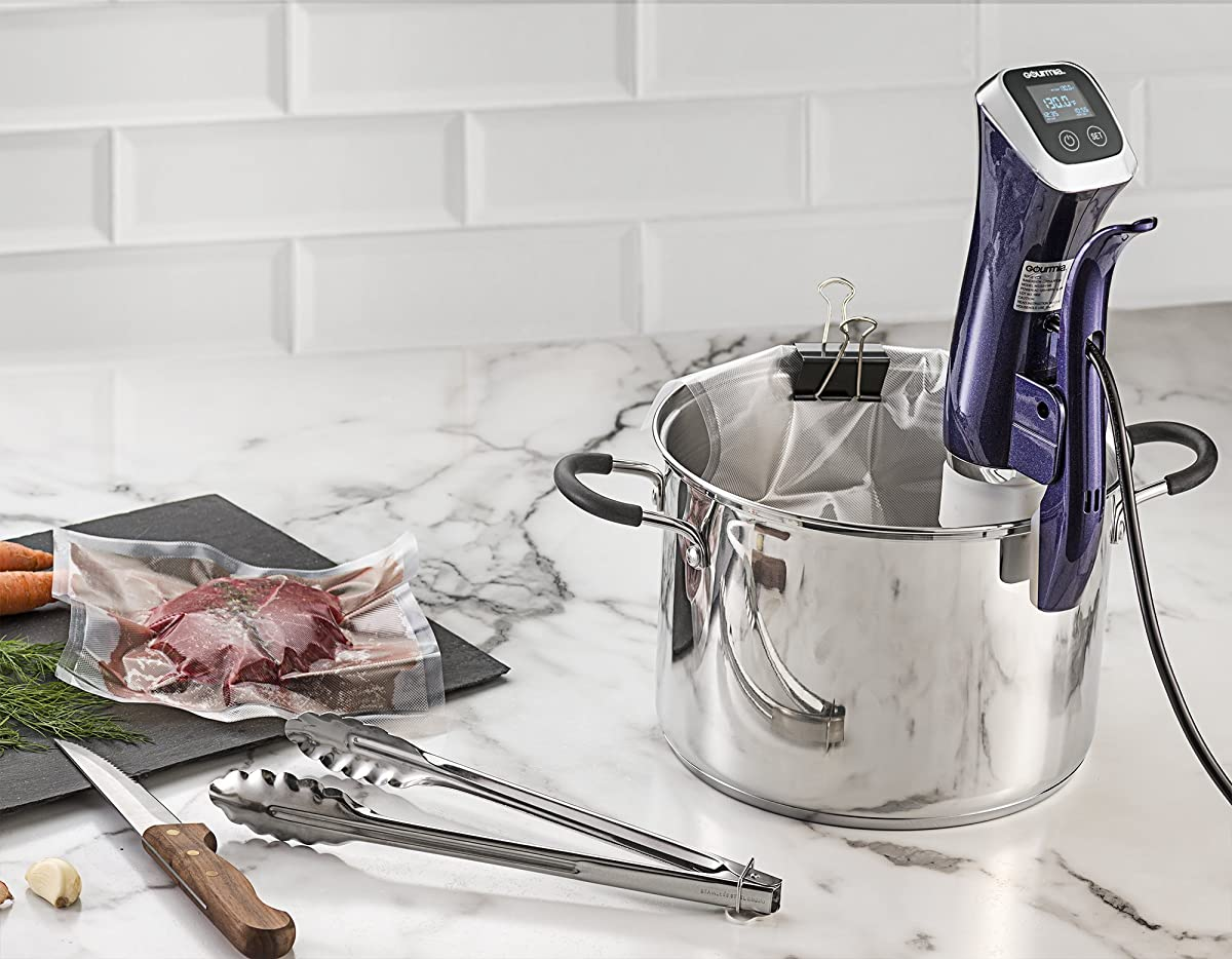 Gourmia GSV140 Immersion Sous Vide Pod 1200 Watts 2nd Generation Circulator Precision Cooker Ergonomic Sleek Designed Digital View While Cooking up to 10 gallons Includes Free Recipe Book - 110V