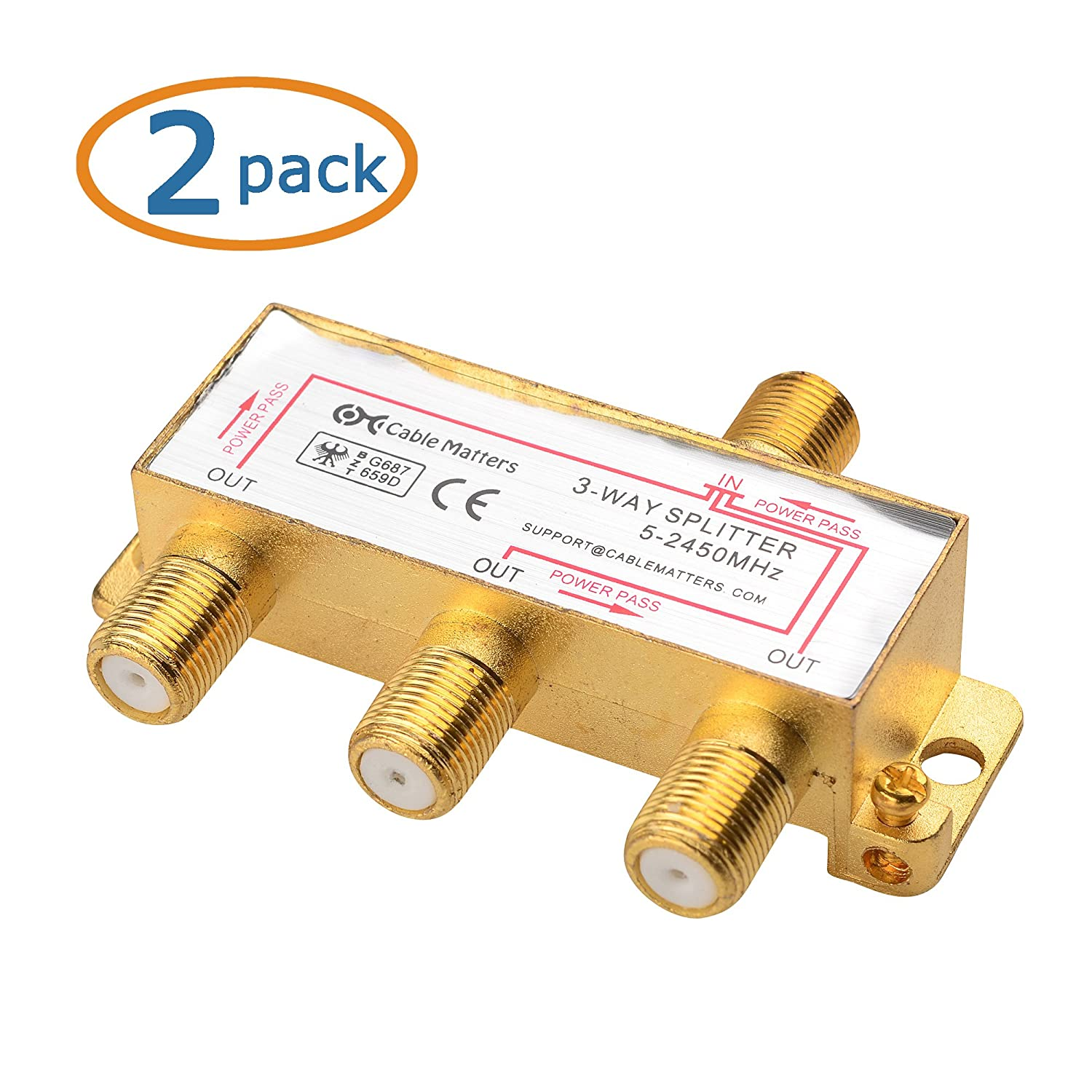 3 Way Cable Splitter : Cable matters pack gold plated way ghz coaxial