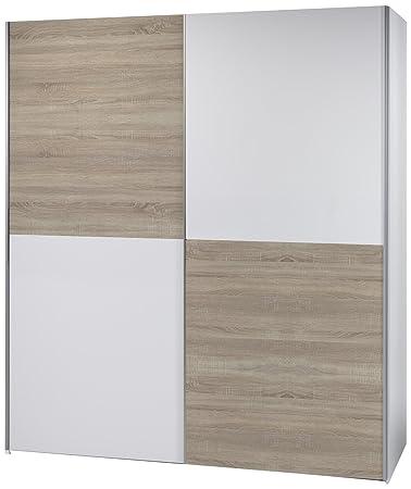 BEGA 58-301-68 Victor 2 Schwebeturenschrank Schachbrett Eiche Sonoma Dekor, circa 170 x 195 x 63 cm, weiß