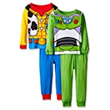 Toy Story Woody Buzz Boys 4 Piece Costume Pajamas Set (2T, Blue/Green/Multi) (Color: Blue/Green/Multi, Tamaño: 2T)