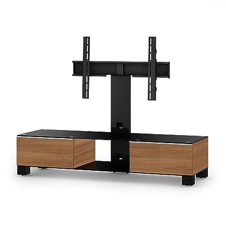 Sonorous MD 8140-B-HBLK-WNT Fernseher-Möbel mit Schwarzglas (Aluminium Hochglanz, Korpus Holzdekor) walnuß/schwarz